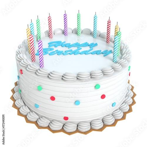 Plakat 3d ilustracja urodzinowy tort