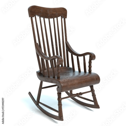 Fotografie, Obraz  3d illustration of an old rocking chair