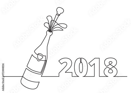 new year 2018 greeting card with champagne bottle with shooting cork