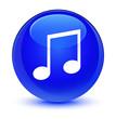 Leinwanddruck Bild - Music icon glassy blue round button