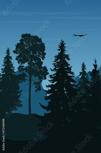 In de dag Groene koraal Vertical vector illustration of winter landscape with mountains, forest and flying eagle under blue sky