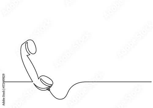 Foto one line drawing of isolated vector object - phone receiver