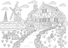 Coloring Page Of Rural Landsca...