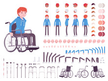 Male Young Wheelchair User Character Creation Set