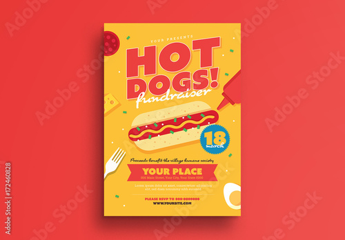 Hot Dog Fundraiser Event Flyer  Buy This Stock Template And