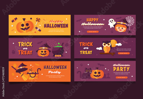 set of 6 halloween web banners 1 buy this stock template and