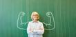 canvas print picture - Starke Frau als Lehrer vor Tafel mit Muskeln