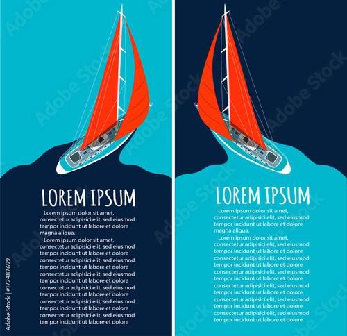 Fototapeta Yacht club flyer design with sail boat
