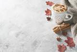 Fototapeta Dmuchawce - Pumpkins spice latte with pumpkins