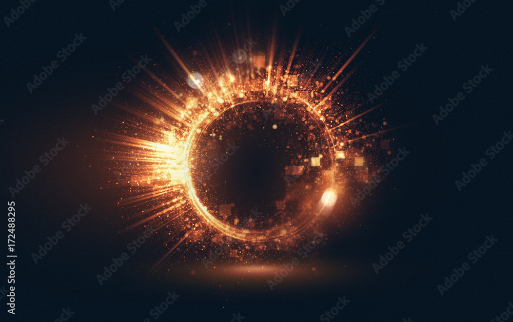 Fototapety, obrazy: Abstract background. luminous swirling. Elegant glowing circle. Big data cloud. Light ring..Sparking particle. Colorful ellipse. Glint sphere. Bright border. Magic portal. Energy ball.