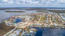 Aerial Images Of Post Hurricane Irma Damage Over Goodland, Florida. A Small Fishing Village On The Southwest Coast Near Naples