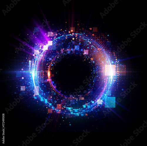 Abstract background. luminous swirling. Elegant glowing circle. Big data cloud. Light ring..Sparking particle. Space tunnel. Colorful ellipse. Glint sphere. Bright border. Magic portal. Energy ball. Wall mural