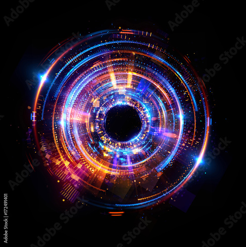 Fototapeta Abstract background. luminous swirling. Elegant glowing circle. Big data cloud. Light ring..Sparking particle. Space tunnel. Colorful ellipse. Glint sphere. Bright border. Magic portal. Energy ball. obraz na płótnie