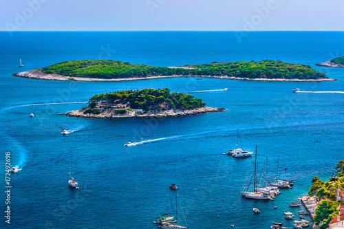 Photo Stands Island Hvar island Mediterranean Coast. / Aerial seascape of famous sailing destination in Croatia, Island Hvar summer scenery in Europe, Mediterranean.