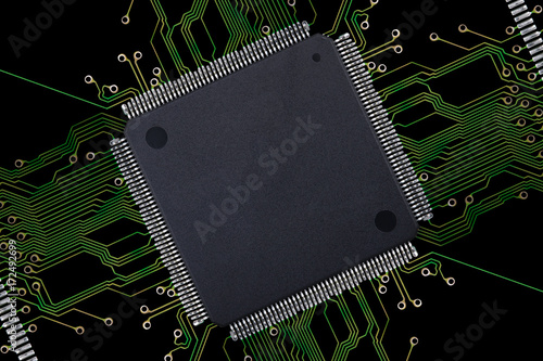 Large Blank Integrated Circuit with Connections on Black Background ...