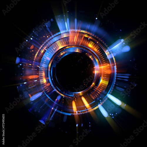 Fototapeta Abstract spacescape, black hole. Star on dark background. Magic explosion star with particles. .Speed of light. Motion blur. Journey to the universe. Lights trail using zoom. light warp speed. Nebula obraz na płótnie