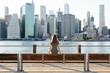 Woman enjoying the view over Manhattan skyline