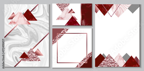 Marble Brochure Wedding Invitation Set Business Card Or Background In Trendy Minimalistic Geometric Style