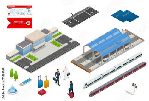 Vector isometric set railroad objects, buildings, plants, cars, road paths and other urban items and elements Canvas-taulu