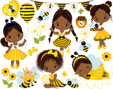 Vector Little African American Girls, Bees, Honey, Balloons And Flowers