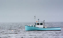 Lobster Boat In Fog In Maine