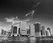 Manhattan Skyline From New York Harbor in Black and White