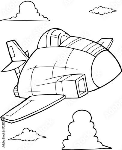 Papiers peints Cartoon draw Cute Aircraft Jet Vector Illustration Art