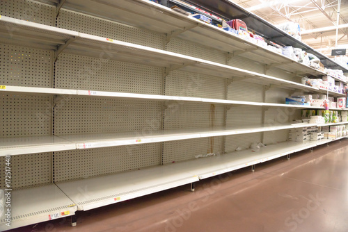 Stampa su Tela Empty shelves in store in Humble, Texas USA