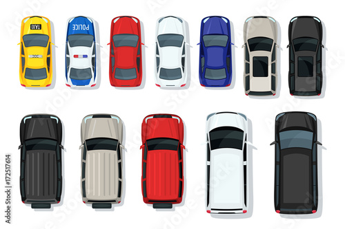 Set of vector cars top view. Flat style city transport. Vehicle icons isolated. Multicolor car illustration from top. Street traffic and transport elements. © Betelgejze