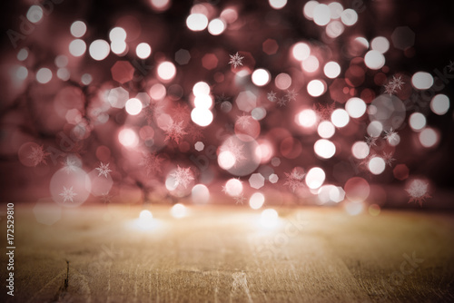 Pink Christmas Lights Background Party Or Celebration Texture With Wood