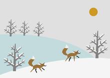 冬素材 背景 キツネ