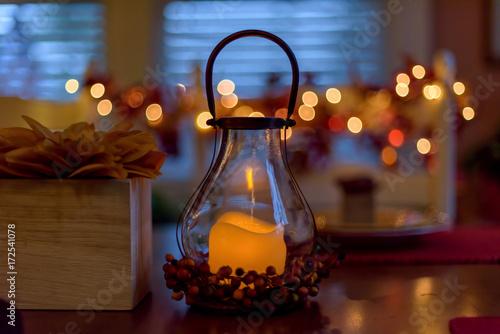Fotografie, Obraz  Autumn tabletop with warm glowing lantern