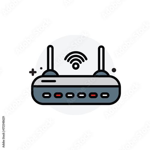 Fotografie, Obraz  router concept Isolated Line Vector Illustration editable Icon