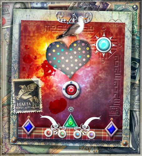 Papiers peints Imagination Sfondo etnico e psichedelico con cuore,colomba,francobolli e forme astratte e geometriche