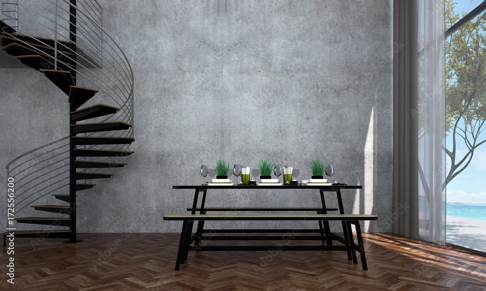 Fotografía  The interior design of dining room and sea view and concrete wall