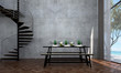 Leinwanddruck Bild - The interior design of dining room and sea view and concrete wall