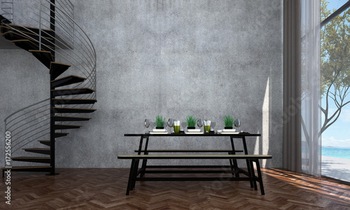 Pinturas sobre lienzo  The interior design of dining room and sea view and concrete wall