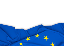 EU Flag On White Background Wi...