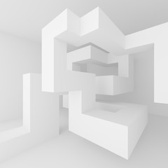 Abstract Architecture Design. Minimal Modern Background. White Interior Concept.