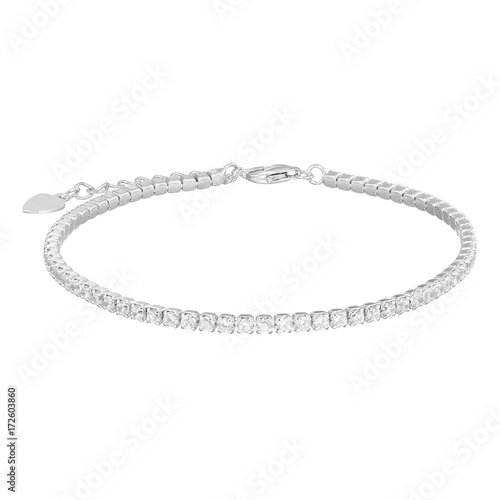 Fotomural  Silver bracelet, isolated on white a background