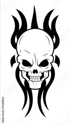 Skull tribal. Tattoo design vector clip