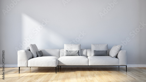 Fototapeta Modern bright living room, white wall. 3D rendering obraz na płótnie