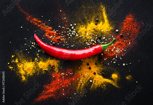 Fotografie, Obraz  Red hot pepper. a mixture of spicy seasonings. View from above