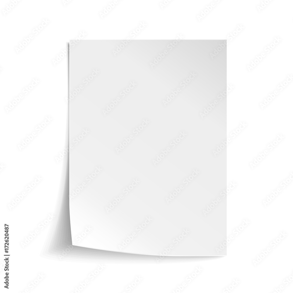 Fototapety, obrazy: Vector White sheet of paper. Realistic empty paper note template of A4 format with soft shadows isolated on white background.