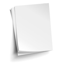 Vector Stack Of Three Empty White Sheets. Realistic Empty Paper Note Templates Of A4 Format With Soft Shadows Isolated On White Background.