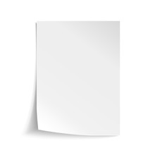 Vector White Sheet Of Paper. Realistic Empty Paper Note Template Of A4 Format With Soft Shadows Isolated On White Background.