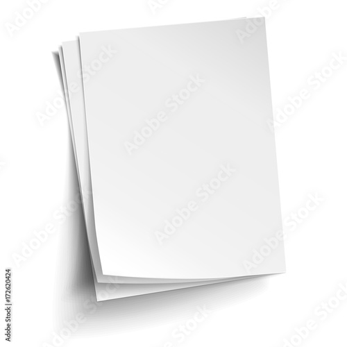 Obraz Vector Stack of three empty white sheets. Realistic empty paper note templates of A4 format with soft shadows isolated on white background. - fototapety do salonu
