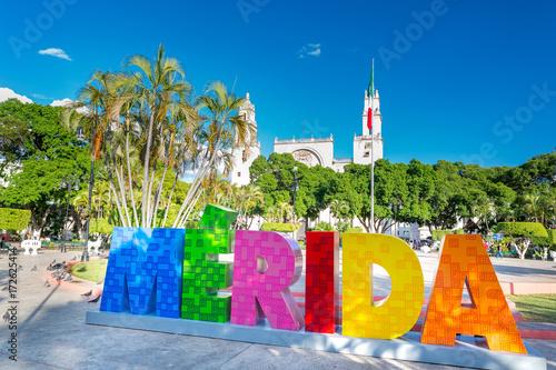 Fotografie, Obraz Merida, Mexico. Colorful letters.