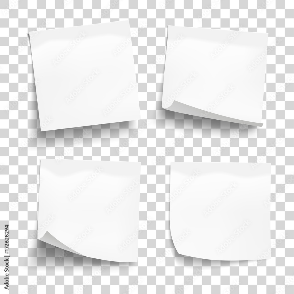Fototapeta Set of white sheets of note paper isolated on transparent background. Four sticky notes. Vector illustration.