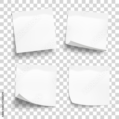 Obraz Set of white sheets of note paper isolated on transparent background. Four sticky notes. Vector illustration. - fototapety do salonu
